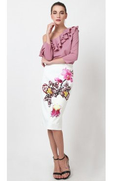 BOTANICA  Bodycon Skirt - White