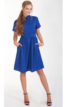 Button Down Midi Dress - Nautical Blue