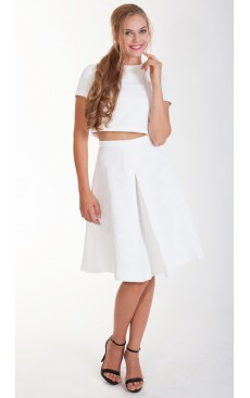 Pleat Midi Skirt - Off White