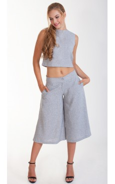 Tweed Culotte - Light Grey
