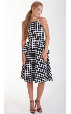 Midi Flare Skirt - Black Grid