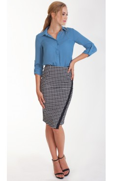 Pencil Skirt - Black Grid