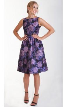 Boat Neck Midi Dress - Purple Floral