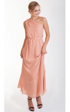 One Shoulder Maxi Dress - Dusty Peach