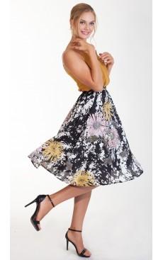 Printed Midi Skirt - Black & White Floral