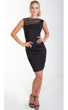 Crochet Lace Fitted Dress - Black