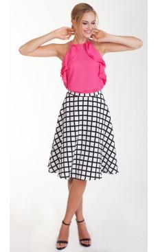 Midi Flare Skirt - White Grid