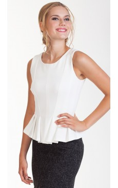 Pleated Peplum Top - Off White