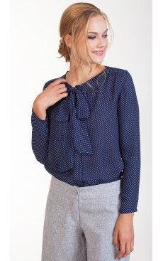 Pussy Bow LS Blouse - Blue Polka
