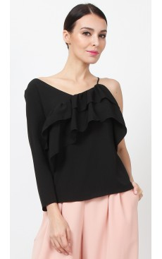Asymmetric Ruffle Top - Black