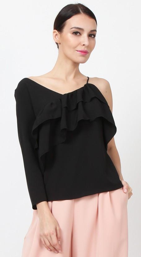 Asymmetric Ruffle Top - Black