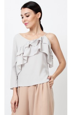 Asymmetric Ruffle Top - Stone White