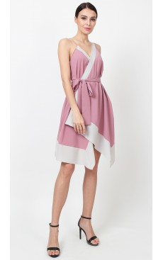 Colourblock Wrap Dress - Lilas Pink & Stone White