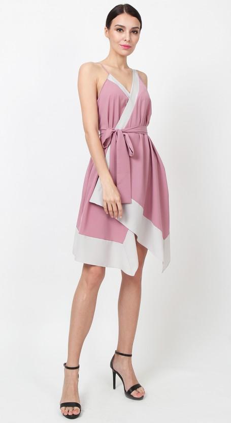 Colourblock Wrap Dress - Lilas Pink & Stone White