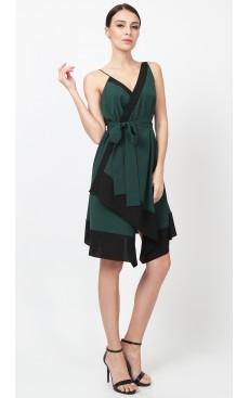 Colourblock Wrap Dress - Verde Green & Black