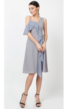 Asymmetric Ruffle Contrast Dress - Ash Grey