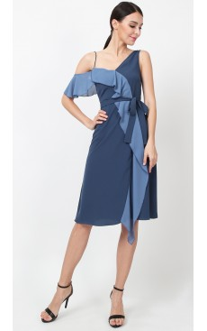 Asymmetric Ruffle Contrast Dress - Midnight Blue