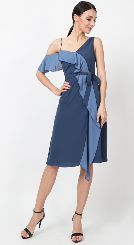 Asymmetric Ruffle Contrast Dress - Midnight Blue