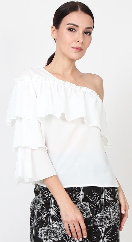 One Shoulder Tier Sleeve Top - White