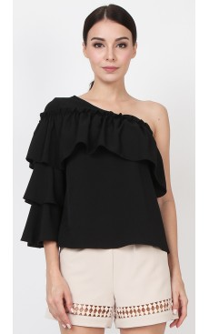 One Shoulder Tier Sleeve Top - Black
