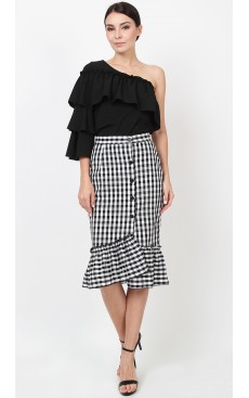 Button Down Ruffle Skirt - Black Gingham