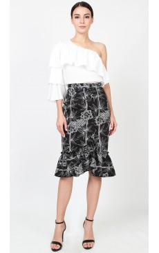 Button Down Ruffle Skirt - Black Bamboo