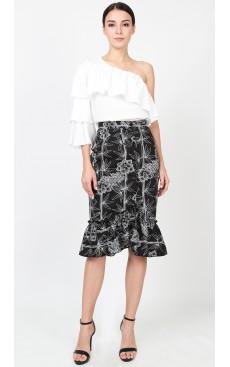 Button Down Ruffle Skirt - Black Bamboo