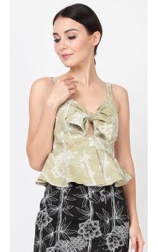 Tie Front Peplum Top - Khaki Green Bamboo