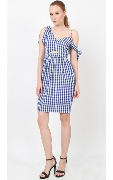 Bow Tulip Dress - Blue Gingham