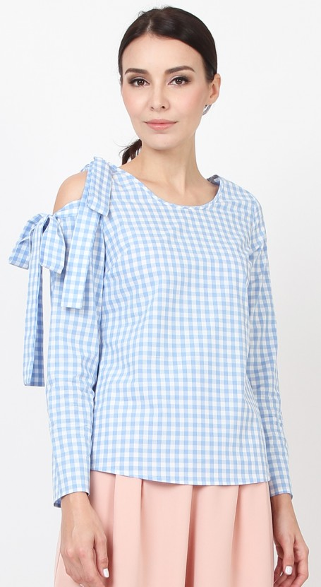 Double Bow Sleeve Top - Baby Blue Gingham