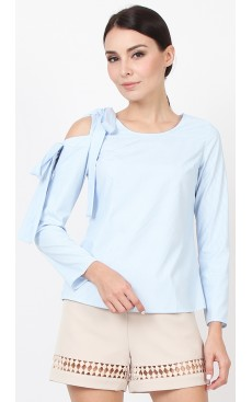 Double Bow Sleeve Top - Light Blue Stripe