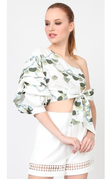 Toga Puff Sleeve Top - White with Green Fan Palm