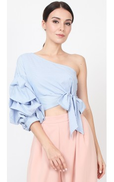 Toga Puff Sleeve Top - Blue Stripe