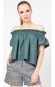 Exposed Shoulder Top - Green Blue Slate