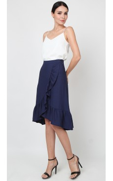 Wrap Midi Skirt with Ruffle - Navy