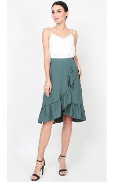 Wrap Midi Skirt with Ruffle - Green Blue Slate
