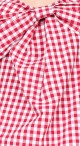 Cold Shoulder Bow Top - Red Gingham