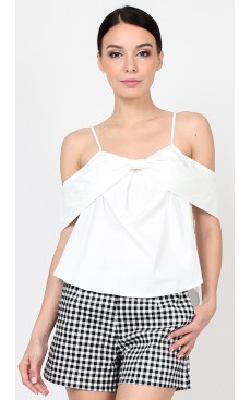 Cold Shoulder Bow Top - White