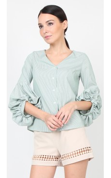 Puff Sleeve Shirt - Green Stripe