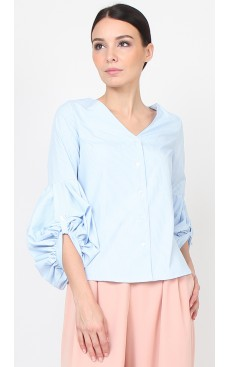 Puff Sleeve Shirt - Light Blue Stripe
