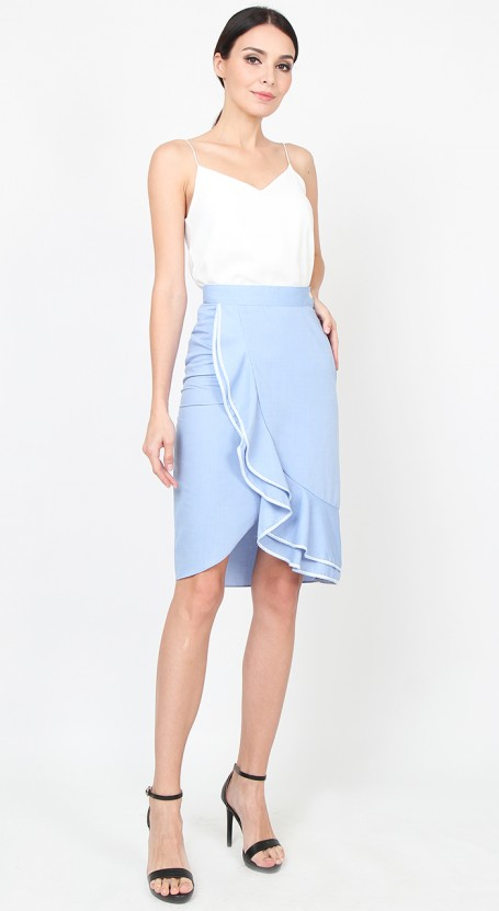 Wrap Ruffle Fitted Skirt - Chambray Blue