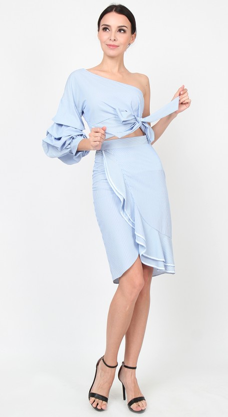 Wrap Ruffle Fitted Skirt - Blue Stripe