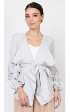 Puff Sleeve Wrap Cardigan - Light Grey