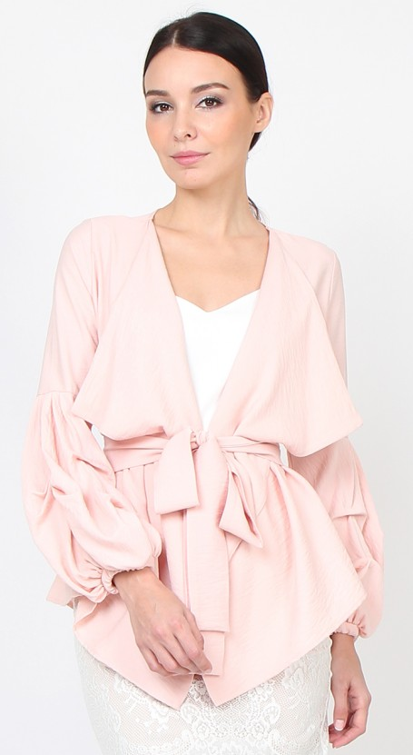 Puff Sleeve Wrap Cardigan - Pale Pink