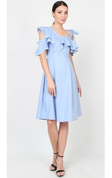 Ruffle Asymmetric Midi Dress - Chambray Blue