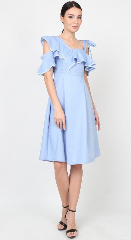 Ruffle Asymmetric Midi Dress - Chambray Blue