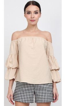 Off Shoulder Lantern Sleeve Top - Sand