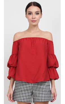 Off Shoulder Lantern Sleeve Top - Burnt Ochre