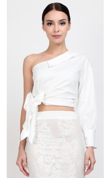 Toga Cuff Sleeve Top - White