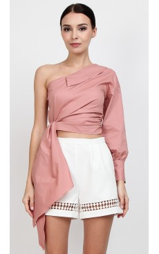 Toga Cuff Sleeve Top - Rose Dawn